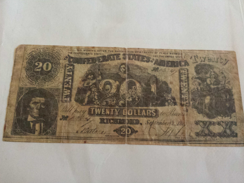 Real Confederate $20 bill?? – Numista