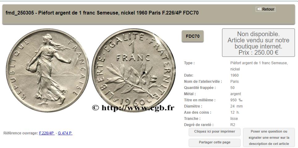 1 Franc Semeuse Argent 1960 Numista